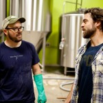 Brewer Mark Fulton and Matt Delamater talking beer at Maine Beer Company