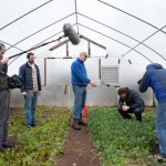 The crew shooting in the green houses at Funky Bow Brewery