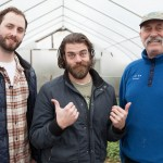 Abraham Lorain, Matt Delamater, Paul Lorain, green houses at Funky Bow Brewery